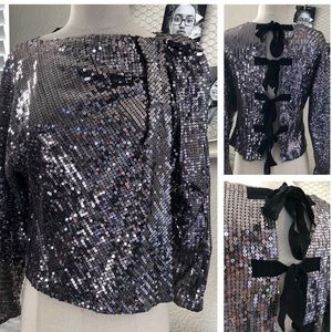 Aryn K Sequin Blouse Open back with bow ties